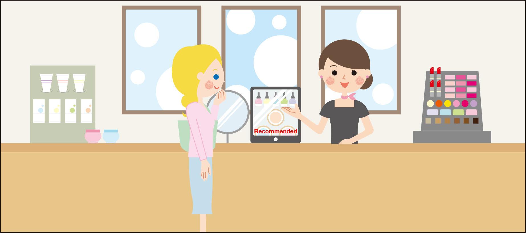 ジャパリンガル for MovableType.net 利用シーン2: 店員さんがタブレットで翻訳されたページを見せつつ訪日外国人の方に商品を紹介しているシーン