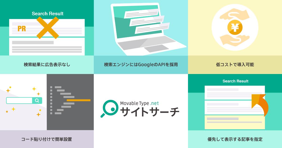 MovableType.net サイトサーチ ロゴと特長