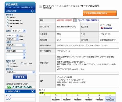 航空券の詳細情報表示画面
