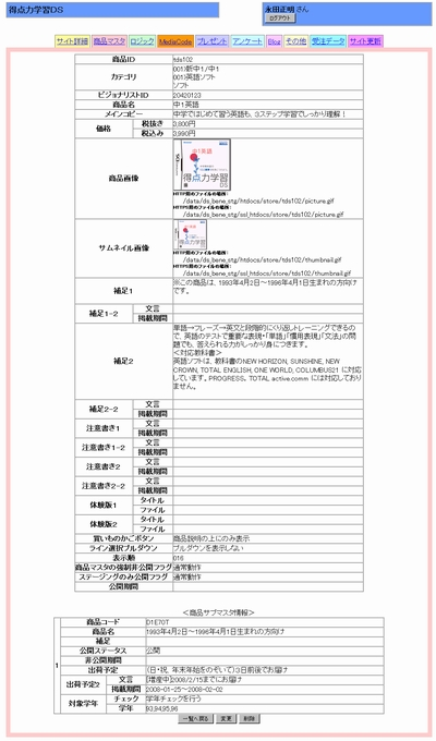 独自に用意された商品管理用ページ。商品データベースから取得した情報をそのままブログの方に転記できるようになっている<br />