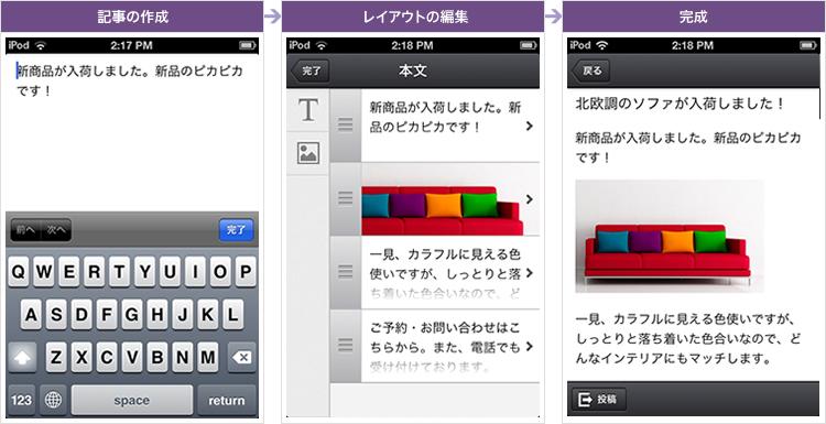 簡単に記事の投稿ができるスマートフォンアプリ