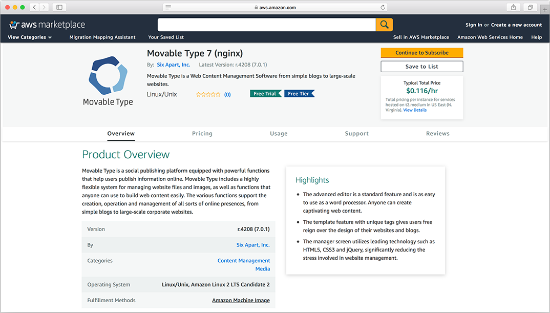 Movable Type for AWS