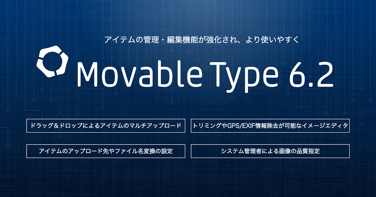 Movable Type 6.2 アイテム管理・編集機能に関する新機能